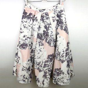 Pink Tartan Floral Print Midi Skirt Size 4
